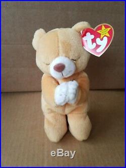 TY Original Beanie Baby Hope Praying Bear 1998 With 2 Tag Errors RARE