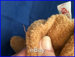 TY Original CURLY Bear Beanie Baby RARE COLLECTIBLE Unique Errors Beenie Babies