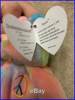 TY Peace Bear Beanie Baby Rare Retired Original 1996 Pristine Mint Condition