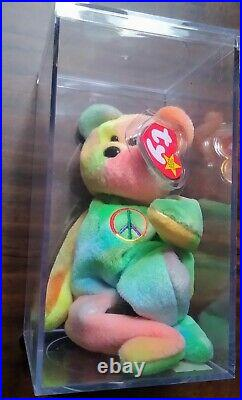 The Original Rare & Retired Vintage Peace Bear Beanie Baby withDisplay Case
