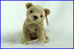 Ty Beanie ALMOND Bear with Tag ERRORS Plush Toy RARE PE NEW RETIRED