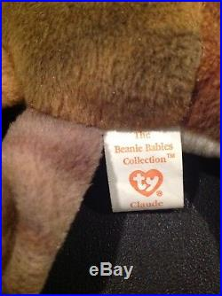 Ty Beanie Babies CLAUDE THE CRAB Ultra RARE Tag with ERRORS RETIRED