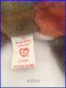Ty Beanie Babies CLAUDE the Crab, PVC Pellets 1996 1st Edition, Korea VERY RARE