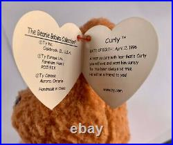 Ty Beanie Babies Curly Bear Rare Multiple Prized Tag Errors! #4052 Tag Retired