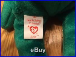 Ty Beanie Babies Erin Bear Rare Errors Retired Mint