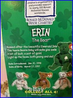 Ty Beanie Babies Erin RARE RETIRED NIB Original Packaging WithERRORS