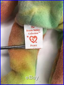 Ty Beanie Babies Original 1996 RARE Retired Peace Bear With ERRORS & PVC PELLETS