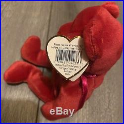 Ty Beanie Babies Original 1998 RARE Retired Valentina Bear W ERRORS & PE PELLETS