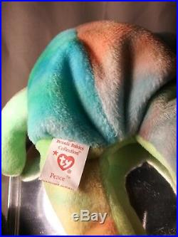 Ty Beanie Babies RARE Retired Peace Bear Origiinal/Suface Tag Errors 1st EDITION
