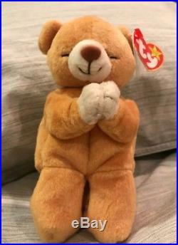 Ty Beanie Babies Rare Retired HOPE Praying Bear w New Tag Errors 1st EDITION