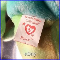 Ty Beanie Babies Rare Retired Peace Bear Origiinal/Stamped Suface Wash Rare
