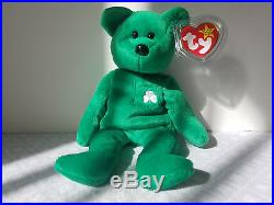 cfdb4fe4821 Ty Beanie Babies Retired Erin Bear Irish Green Shamrock Rare Collectible Toy
