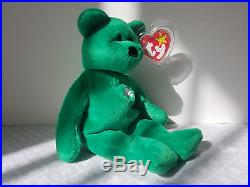 cc022ed18af Ty Beanie Babies Retired Erin Bear Irish Green Shamrock Rare Collectible Toy