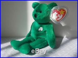 600d6c440ca Ty Beanie Babies Retired Erin Bear Irish Green Shamrock Rare Collectible Toy