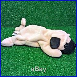 Ty Beanie Baby 1996 Pugsly The Pug RARE RETIRED PVC Plush Toy With Canadian TUSH