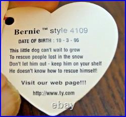 Ty Beanie Baby BERNIE Dog with Tag ERRORS Plush Toy RARE PVC NEW RETIRED Nurnberg