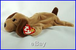 09435a30a68 Ty Beanie Baby BONES 1994 1993 Dog with Tag ERRORS Plush Toy RARE PVC NEW  RETIRED