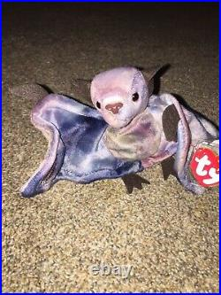 Ty Beanie Baby Batty the Bat Tie Dye RARE with ERRORS 1996/1998 #217 Pe Pellets
