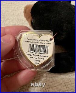 Ty Beanie Baby Blackie The Bear Ultra Rare, PVC Pellets, Major Tag Errors, Mint
