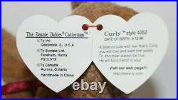 Ty Beanie Baby Curly Bear Rare Retired PVC Pellets Tag Errors