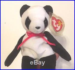 Ty Beanie Baby Fortune Panda Bear Retired 12 6 1997 Tush Errors RARE ... 010dbc48c399