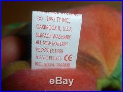Ty Beanie Baby GARCIA The Bear 1993/1995 4051-PVC-ERROR-TAG SEALED Very RARE