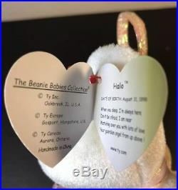 Ty Beanie Baby Halo RARE 1998 ERRORS Brown Nose, Grammar RARE! BEST CONDITION