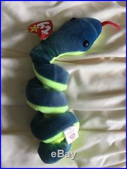 Ty Beanie Baby Hissy Snake Tag Errors RARE PVC New 1997