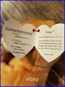 Ty Beanie Baby Hope praying bear. Withtag errors! Rare & Retired! Mint condition