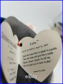 Ty Beanie Baby Jake The Mallard Drake Duck Rare TAG ERRORS 1998 1997