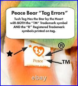 Ty Beanie Baby PEACE BEAR! Original Collectible! All Tag ERRORS MINT! VERY RARE