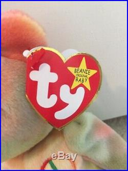 Ty Beanie Baby PEACE THE BEAR 1996 Rare Beanie Baby Mint Condition No Errors