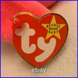 Ty Beanie Baby PINKY the Pink Flamingo 1995 Plush Toy RARE RETIRED P. E