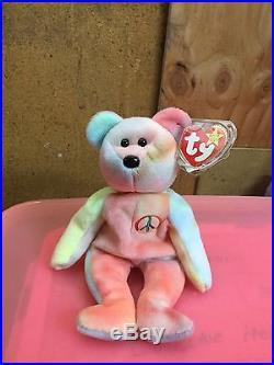 Ty Beanie Baby Peace Bear 1996RARE, TAG ERRORS! READ