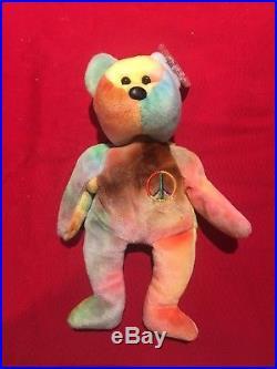a325f67f301 Ty Beanie Baby-Peace Bear-PVC Pellets-Multiple Errors-1996-Rare