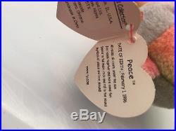 Ty Beanie Baby-Peace Bear-PVC Pellets-Multiple Errors-1996-Rare-Retired