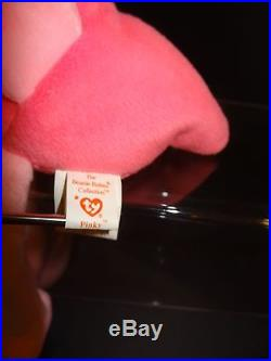Ty Beanie Baby Pinky The flamingo MINT/RARE/1995/PVC/Double Tush Tag French/Eng