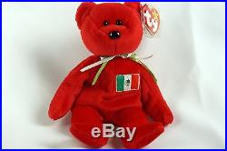 Ty Beanie Baby RED OSITO Bear Mexico with Tag ERRORS Plush Toy RARE PE NEW RETIRED