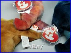 Ty Beanie Baby Rare Dino Trio Set Rex Steg Bronty 3rd/1st Gen MWNMT