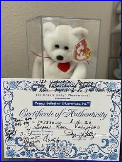 Ty Beanie Baby Valentino Bear MWMT MQ AUTHENTICATED Star Sticker & Errors RARE
