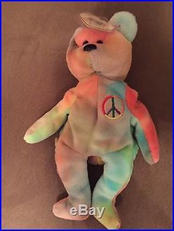 Ty Beanie Baby Very Rare PEACE BEAR orig. Rainbow Colors With Tag Errors