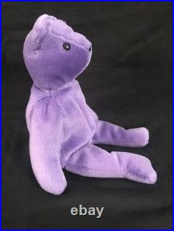 Ty Beanie Baby Violet Authentic Teddy Bear 1st Generation Tush Tag Old Face Rare