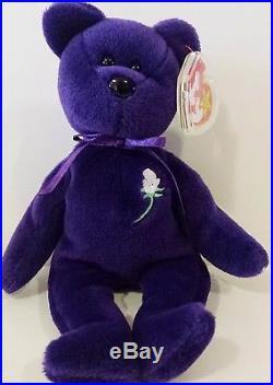 Ty Beanie BabyPRINCESS (Diana) Bear RARE 1st EDITION! 1997 PVC Pellets! MINT 96a995d22625