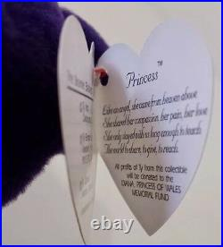 Ty Beanie BabyPRINCESS (Diana) Bear RARE 1st EDITION! 1997 PVC Pellets! MINT