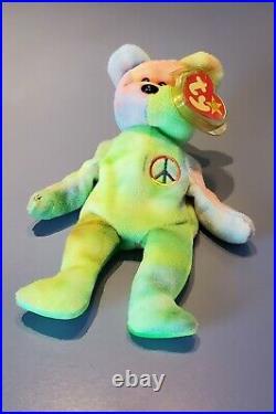 Ty Beanie Bear Peace 1996 Original Retired Beanie Baby RARE TAG ERRORS