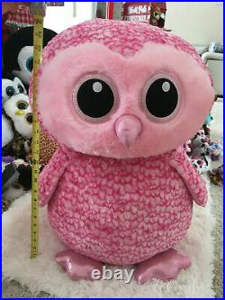Ty Beanie Boo's Rare Xtra Large Pink Owl