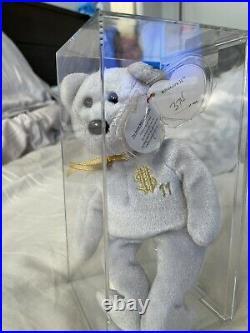 Ty Billionaire Bear 11 Authenticated Ty Warner SIGNED Beanie Baby MWMT MQ RARE