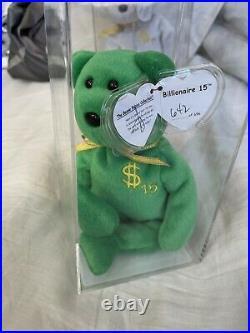 Ty Billionaire Bear 15 Authenticated Ty Warner SIGNED Beanie Baby MWMT MQ RARE