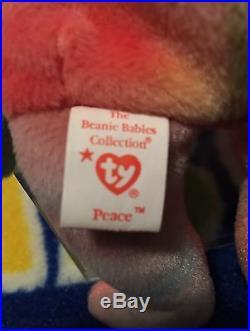 Ty Peace Bear Beanie Baby Mwmt Retired Super Rare 8 Errors Pvc Pellets No Tag #