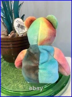 Ty Peace Bear Beanie Baby Retired RARE ERRORS 1996 Korean Market Tie-Dye MINT